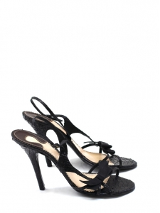 Black python leather sandals Retail price 600€ Size 38,5