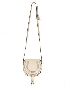 Petit sac à bandoulière MARCIE en cuir grainé beige rosé NEUF Px boutique 570€