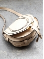 MARCIE Small beige nude grained leather saddle bag Retail price 570€