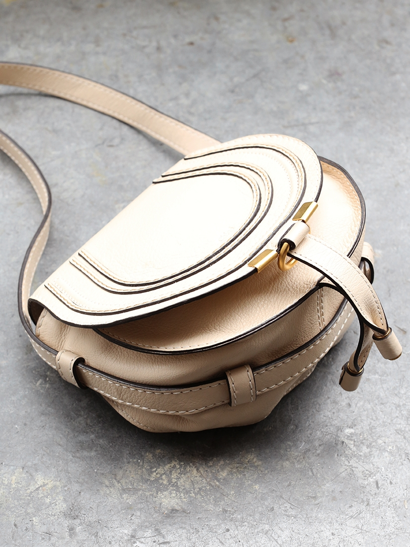 Louise Paris - CHLOE MARCIE Small beige nude grained leather ...