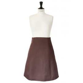 High waist brown linen skirt Retail price 1000€ Size 38