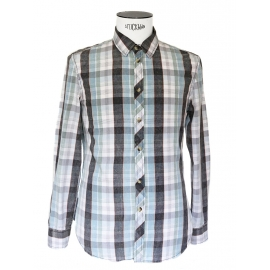 Blue, green, grey and white checked print cotton shirt NEW Size M