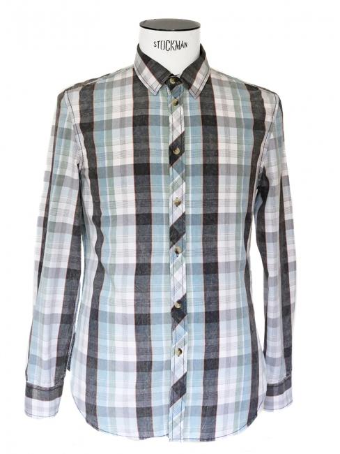 Chemise en coton à carreaux bleu, vert, gris et blanc NEUVE Taille M