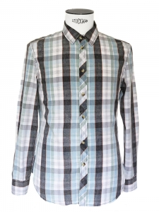 Blue green grey an white check print cotton shirt Size M