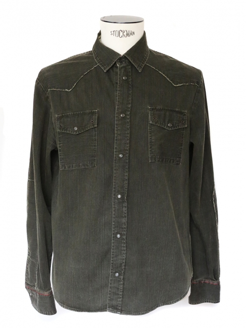 Khaki green cotton long sleeved shirt Size M