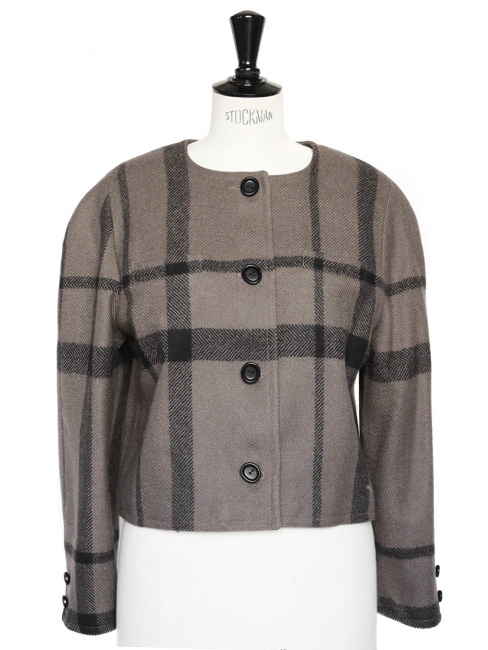 Veste courte en laine grise marron et noire Taille 40/42