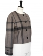 Khaki brown with black stripes short jacket Size 40/42