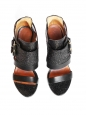 Vittorias black pebbled leather buckled sandals Retail price $880 Size 39