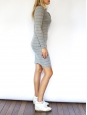 Long sleeves light grey with blue stripes wool shirt dress Size 36