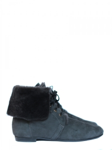 Blue suede leather shearling flat boots Retail price 500€ NEW Size 38