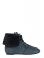 Blue sheepskin suede leather and fur flat boots Retail price 500€ NEW Size 38.5