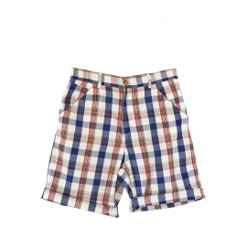 Blue, red and beige check printed Madras cotton shorts Retail price €138 Size XS