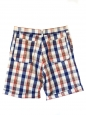 "Blue red and beige check print cotton ""Madras"" men's shorts retail price 138€ Size XS"