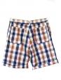 Short Homme en coton imprimé carreaux bleu rouge et beige Px boutique 138€ Taille XS