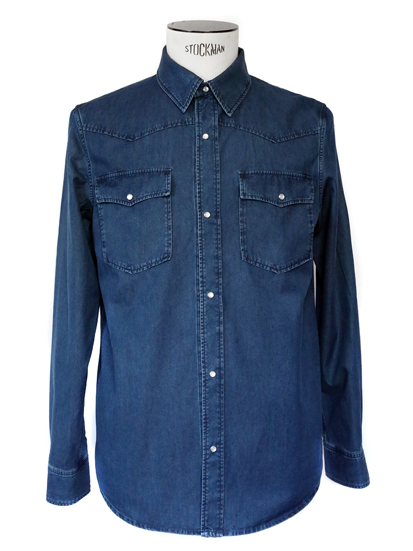 Louise Paris Apc Dark Blue Denim Men S Shirt New Retail