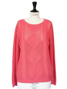 DES PETITS HAUTS bright pink heavy knit sweater NEW Size 38