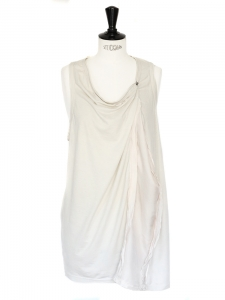 Ecru cotton and light pink silk sleeveless top Size S