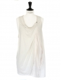 Ecru cotton and light pink silk sleeveless top Retail price $200 Size S