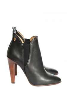Black leather high heel ankle boots Retail price $850 Size 38.5