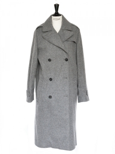 Medium grey wool long oversize coat Retail price 2000€ Size 38/40