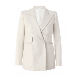 White silk double breasted blazer jacket Retail price 630€ Size 40