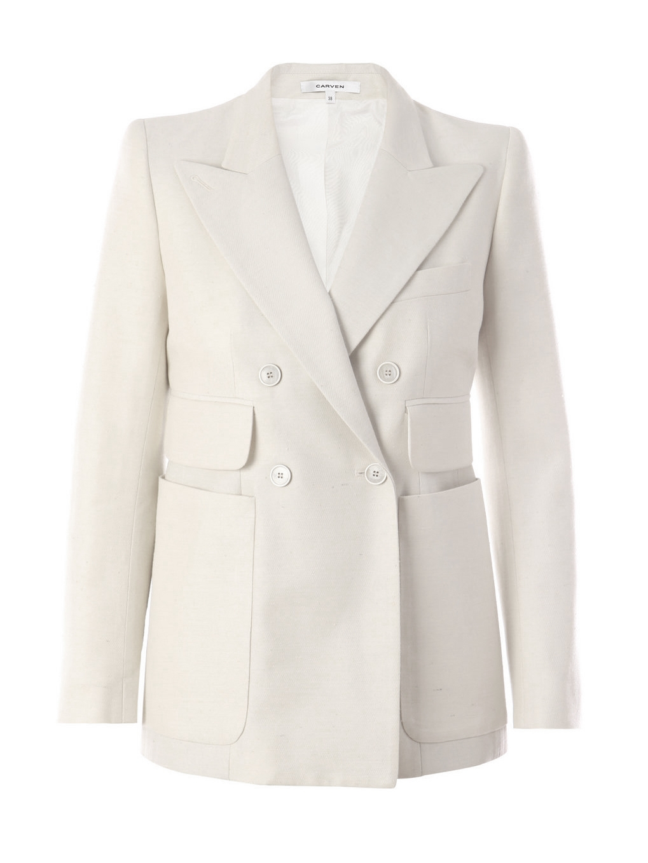 louise paris carven veste blazer en soie blanche crue. Black Bedroom Furniture Sets. Home Design Ideas