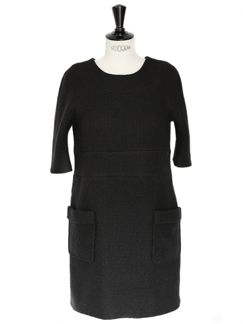 Robe manches 3/4 en laine et mohair noir Px boutique 1100€ Taille M