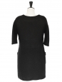 Black wool and mohair short sleeves dress Retail price 1100€ Size M