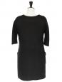 Robe manches 3/4 en laine noire Px boutique 1100€ Taille M