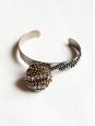 Bracelet en argent avec chaînes dorées et cristaux Swarovski