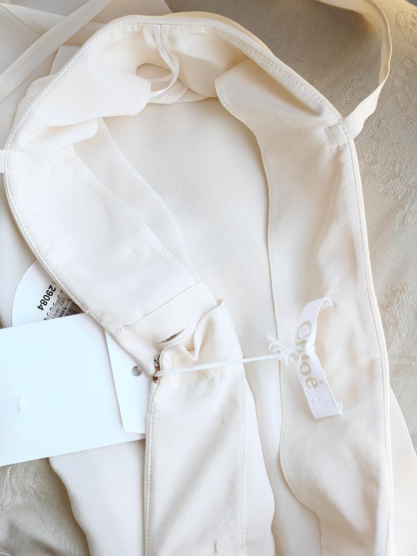 Louise Paris Chloe Ecru Beige Silk Crepe Tank Top With