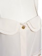 Ecru beige silk crepe tank top with gold buttons Size 38/40