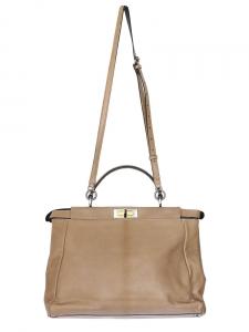 PEEKABOO Large hazel brown goatskin and python handbag Retail price 3550€ NEW with tags