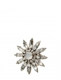 Flower / star shaped white swarovski crystal and bead gold ring