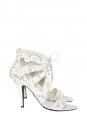 Ankle white leather and lace heel sandals NEW Retail price €640 Size 40