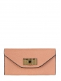 Light orange pink grained leather long wallet Retail price 425€ NEW