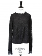 COMING SOON Black lace and silk long sleeves top NEW Size 36