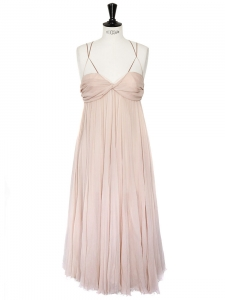 Light pink silk chiffon long cocktail dress Retail price 2500€ Size 38