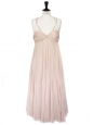 Light pink silk chiffon long cocktail dress Retail price €2500 Size 38