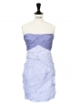 White and periwinkle blue striped cotton strapless dress NEW Retail price €450 Size 34/36