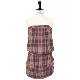 Robe bustier en coton imprimée écossais marron et prune et vieux rose Taille 36