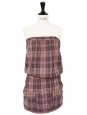 Strapless brown, purple and old pink plaid print cotton dress Size 36