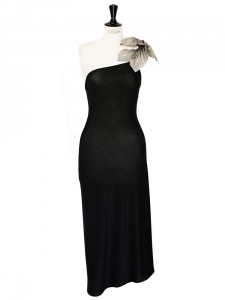 SIMON AZOULAY black Couture cocktail embellished dress Size 36