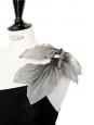 Robe de soirée Couture SIMON AZOULAY noir avec fleur épaule Taille 36