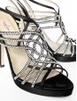 Black silk satin cristals embellished heel sandals Retail price 800€ Size 39