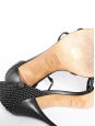Black and white cotton heel sandals Size 40