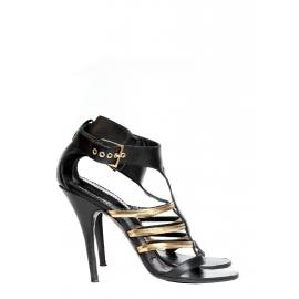 Sandales à talon en cuir noir et bride métallique dorées Px boutique 650€ Taille 37