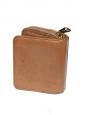 Portefeuille LILY carré en cuir marron noisette avec noeud doré NEUF