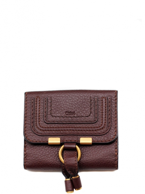 Marcie chocolate brown grained leather square wallet Retail price 350€