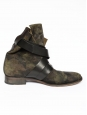 Kate Suede leather khaki military print flat boots Size 40